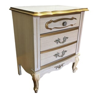 Antique Country White & Gold Three-Drawer Nightstand