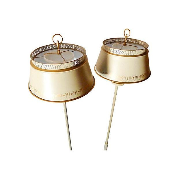 Image of Vintage French Country Tole Floor Lamps - A Pair