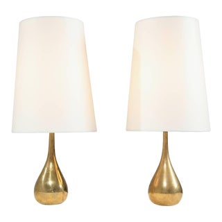 Pair of Mauri Almari Brass Drop Table Lamps, Idman, Finland, 1950s