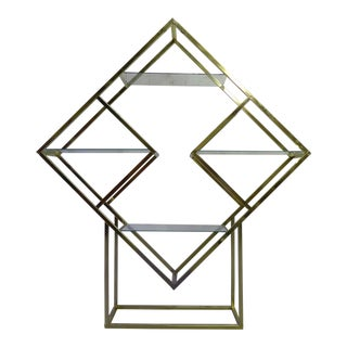 Milo Baughman styled Mid Century Brass Etagere / Room Divider