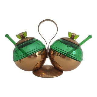 Art Deco Emerald Glo Glass & Brass Condiment Set