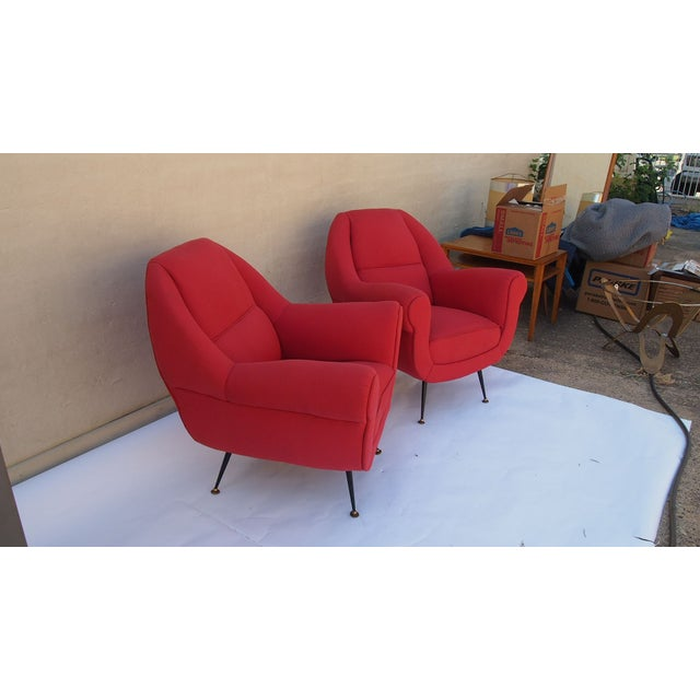 Image of Italian Vintage Upholstered Arm Chairs - A Pair