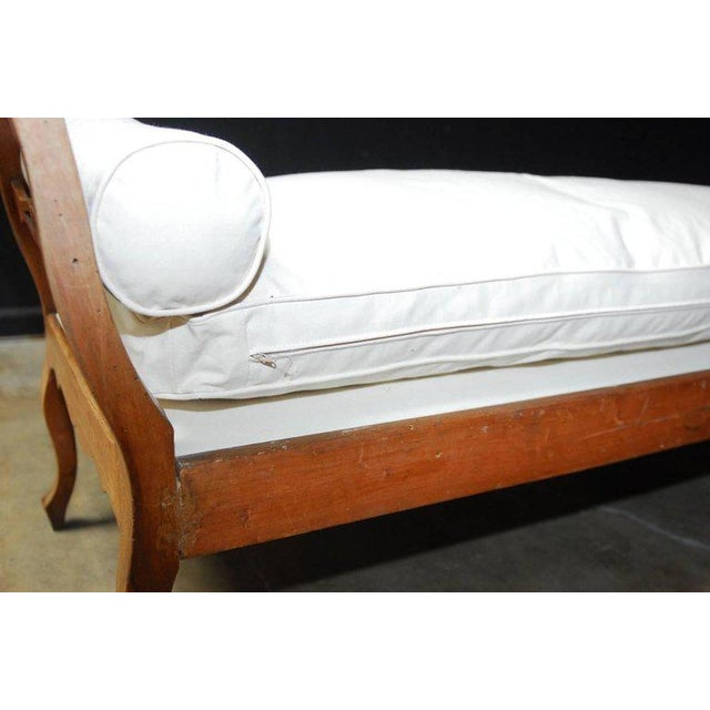 19th Century French Provincial Canvas Upholstered Daybed - Image 7 of 11