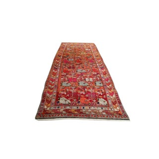 4′10″ × 13′2″ Vintage Caucasian Karabakh Hand Made Wide Runner Rug - Size Cat. 13 Ft 14 Ft Wide Runner