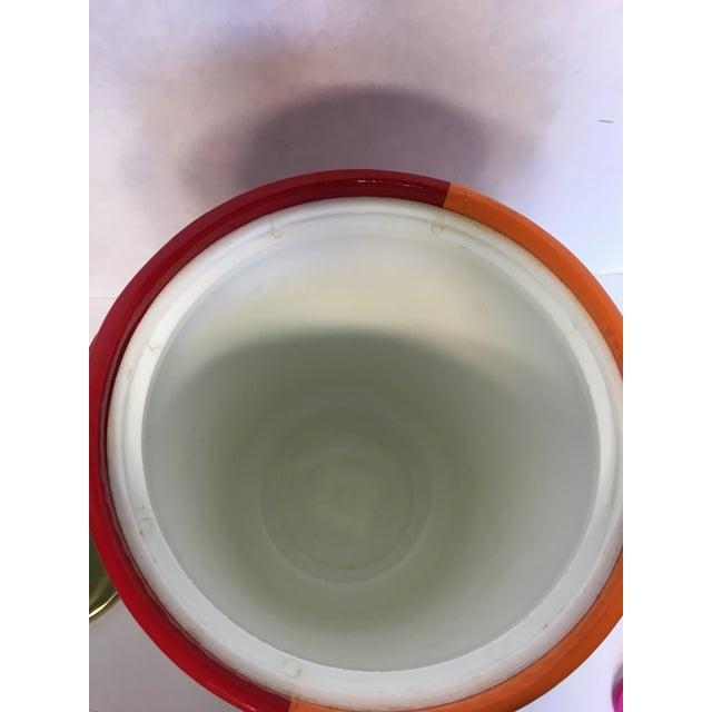Mid-Century Red & Orange Striped Vinyl Ice Bucket - Image 6 of 6