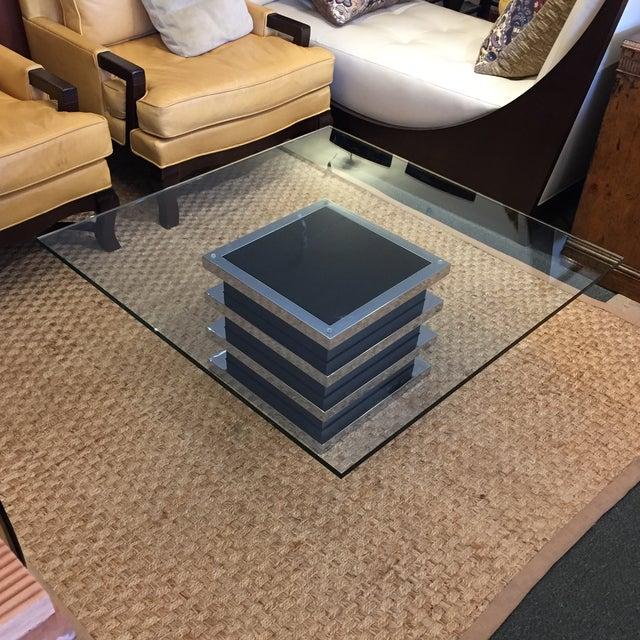 Contemporary Chrome and Glass Coffee Table - Image 5 of 8