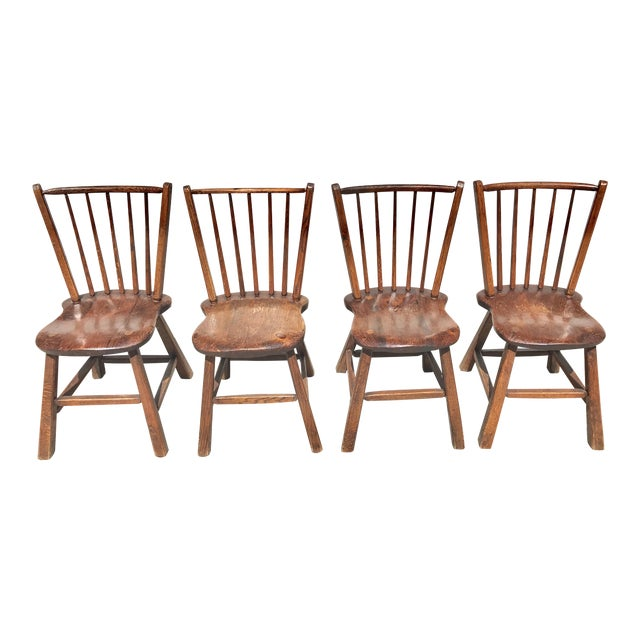 Primitive Wood Dining Chairs - Set of 4 - Image 1 of 4