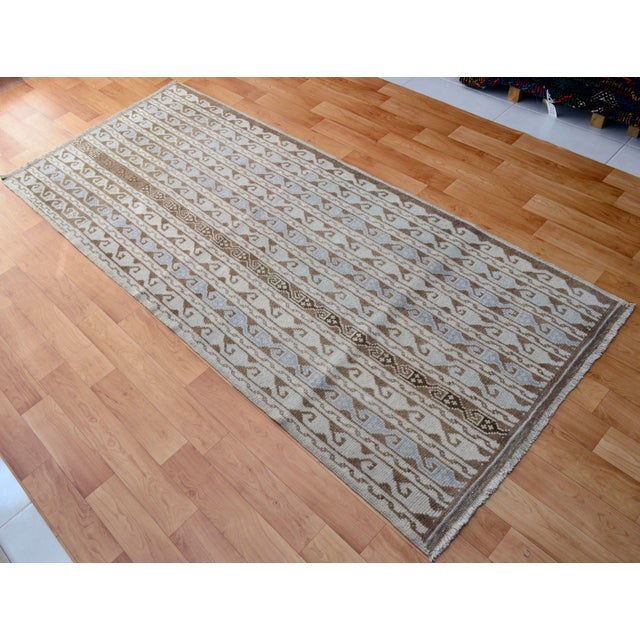 Turkish Hand-Knotted Oushak Runner Rug - 3' X 7' - Image 4 of 9