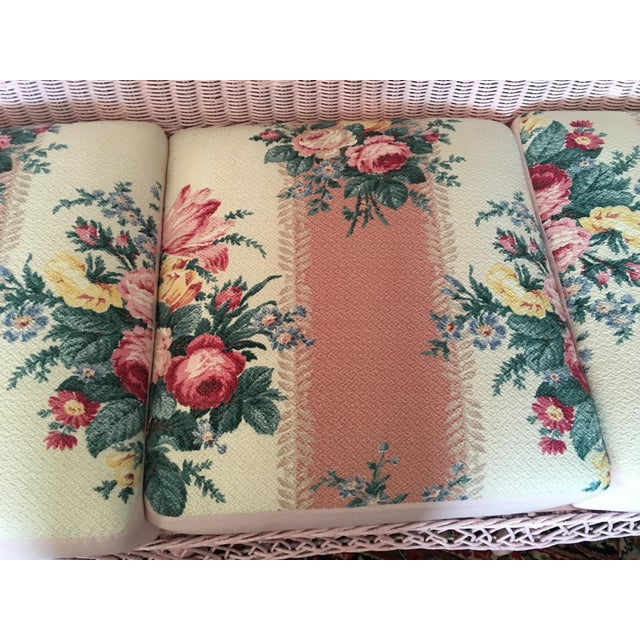 Vintage Pink Wicker Barkcloth Settee Sofa - Image 2 of 8