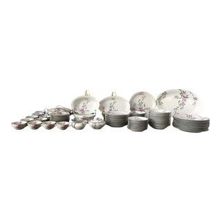 Noritake Vintage Silver & Pink, Grey, Floral Dinner Service - Set of 79