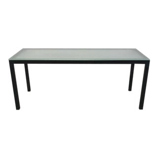 Steel Parsons Table with Satin Etched Glass Top