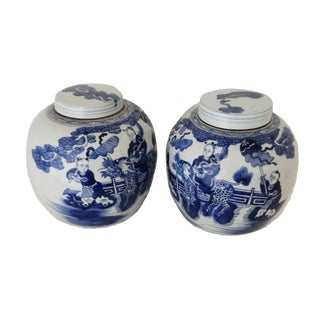 Chinese Hundred Boys Motif Ginger Jars - A Pair