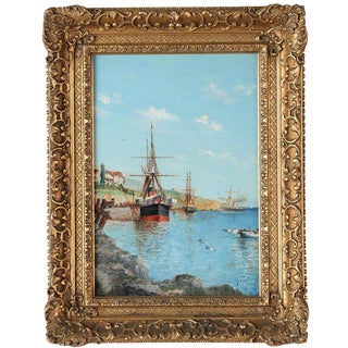 19th-Century Italian Harbor Painting