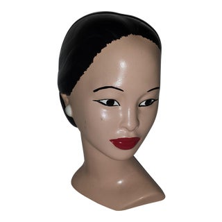 Vintage Chalkware Lady Head Bust