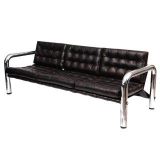 Byron Botker For Landes Chrome & Leather Sofa