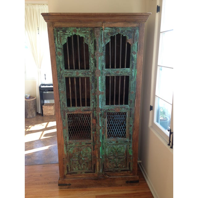 Image of Moroccan Wooden Walnut Stained Armoire