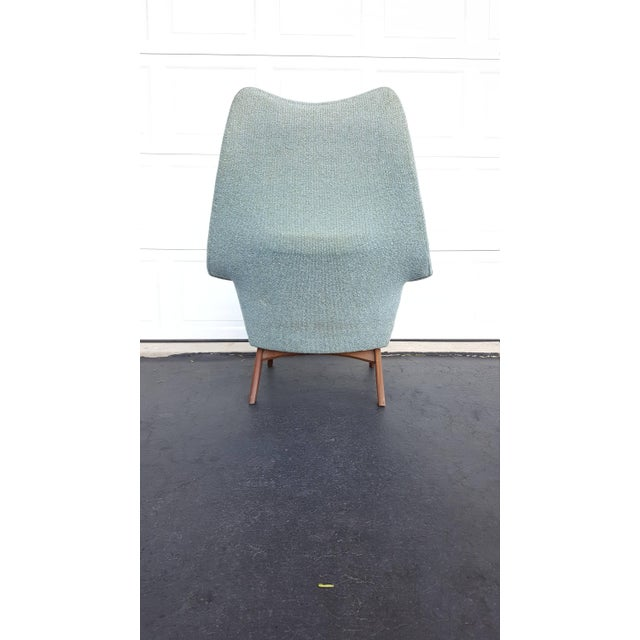 Adrian Pearsall Turquoise Walnut Wingback Chair - Image 4 of 7