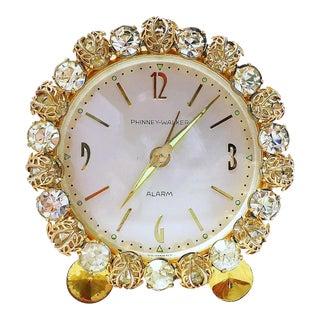 1930s Vintage Phinney-Walker Bejeweled Alarm Clock