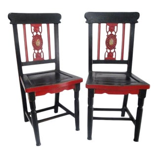 Vintage Crackle Finish Chairs - a Pair
