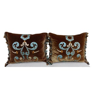 Italian Appliqued Silk Velvet Pillows - A Pair