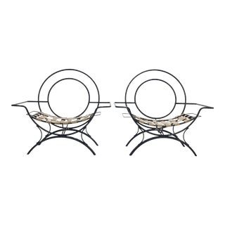Modernist Wrought Iron Lounge Chairs - A Pair