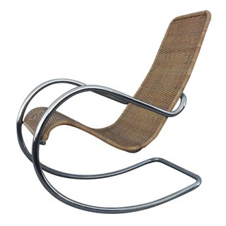 1970s Modern Italian Chrome Rocking Chair