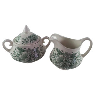 English Ironstone Floral Cream and Covered Sugar