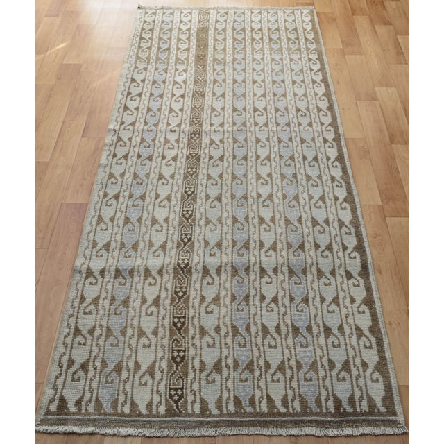 Hand-Knotted Turkish Antique Effect Rug - 3′ X 7′ - Image 5 of 9