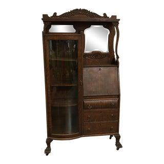 Antique Victorian Oak Curio Cabinet