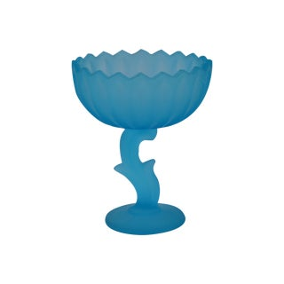 Vintage Turquoise Glass Pedestal Bowl