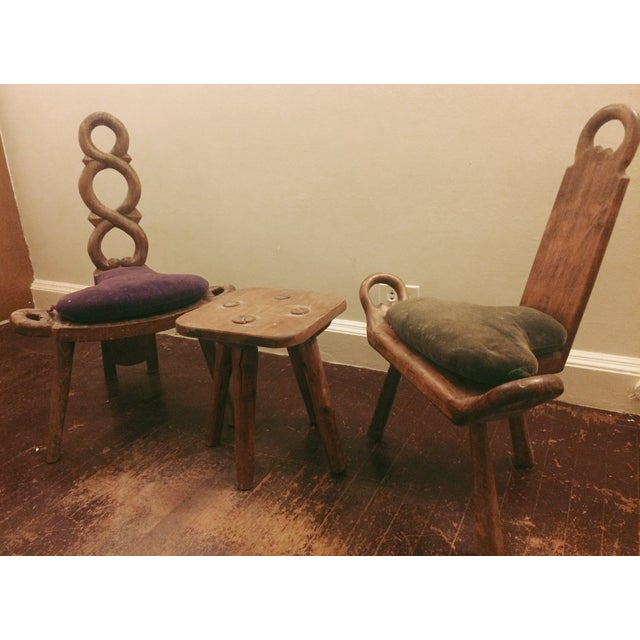 Primitive Carved Chairs & Stool - Set of 3 - Image 10 of 10