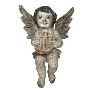 Vintage Carved Wood Religious Sculpture of Hanging Angel