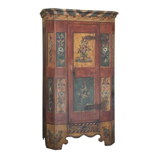 Antique Hand Painted Pine Italian Armoire