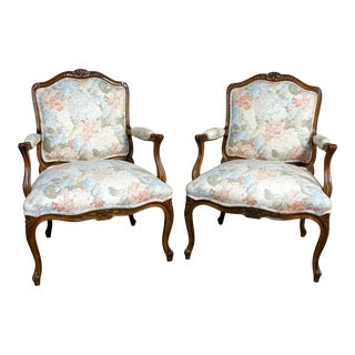 Heritage Furniture Louis XV Style French Country Fauteuil Armchairs - A Pair