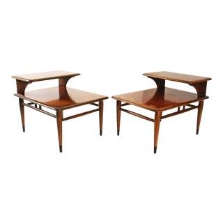 Lane Acclaim Mid Century Modern Inlaid Step Tables - a Pair