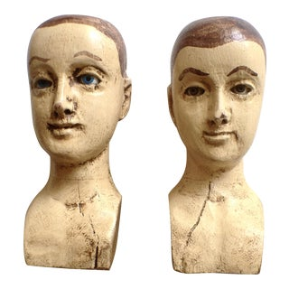 Wooden Santos Figure Heads- A Pair