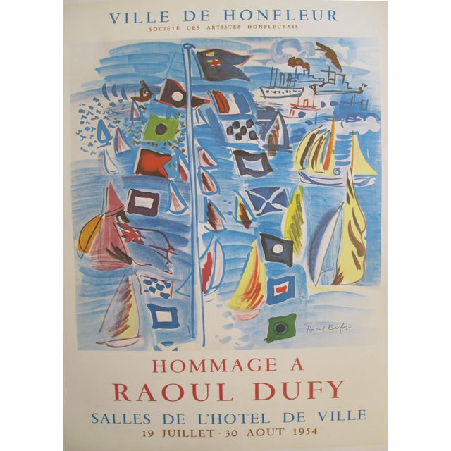 1954 Original Vintage French Exhibition Poster, Minimalist Poster, Hommage à Raoul Dufy - Image 3 of 6