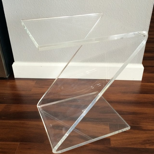 Vintage Lucite Z End Table Mascheroni Style - Image 2 of 7