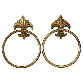 Brass Fleur De Lis Towel Rings - A Pair
