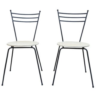 Mid-Century Petite Wrought Iron Cafe Chairs - Pair