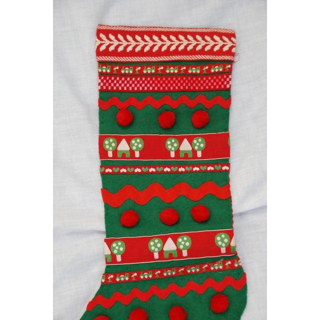 Vintage 1960s Handmade Green Christmas Stocking - Image 2 of 7