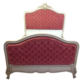 Red Tufted Velvet Full Bed