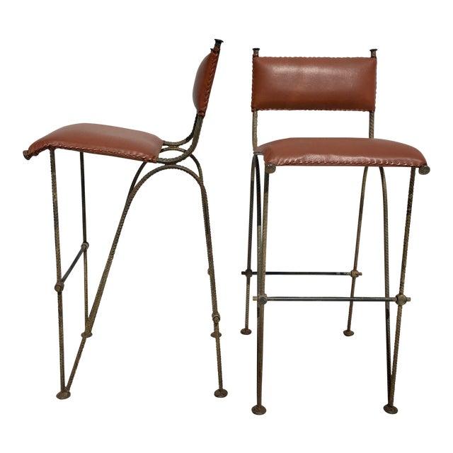 Ilana Goor Style Bar Stools - A Pair - Image 1 of 7