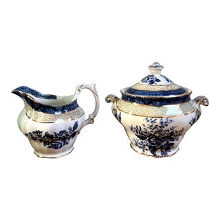 Antique Booths Peony Sugar & Creamer Set - A Pair