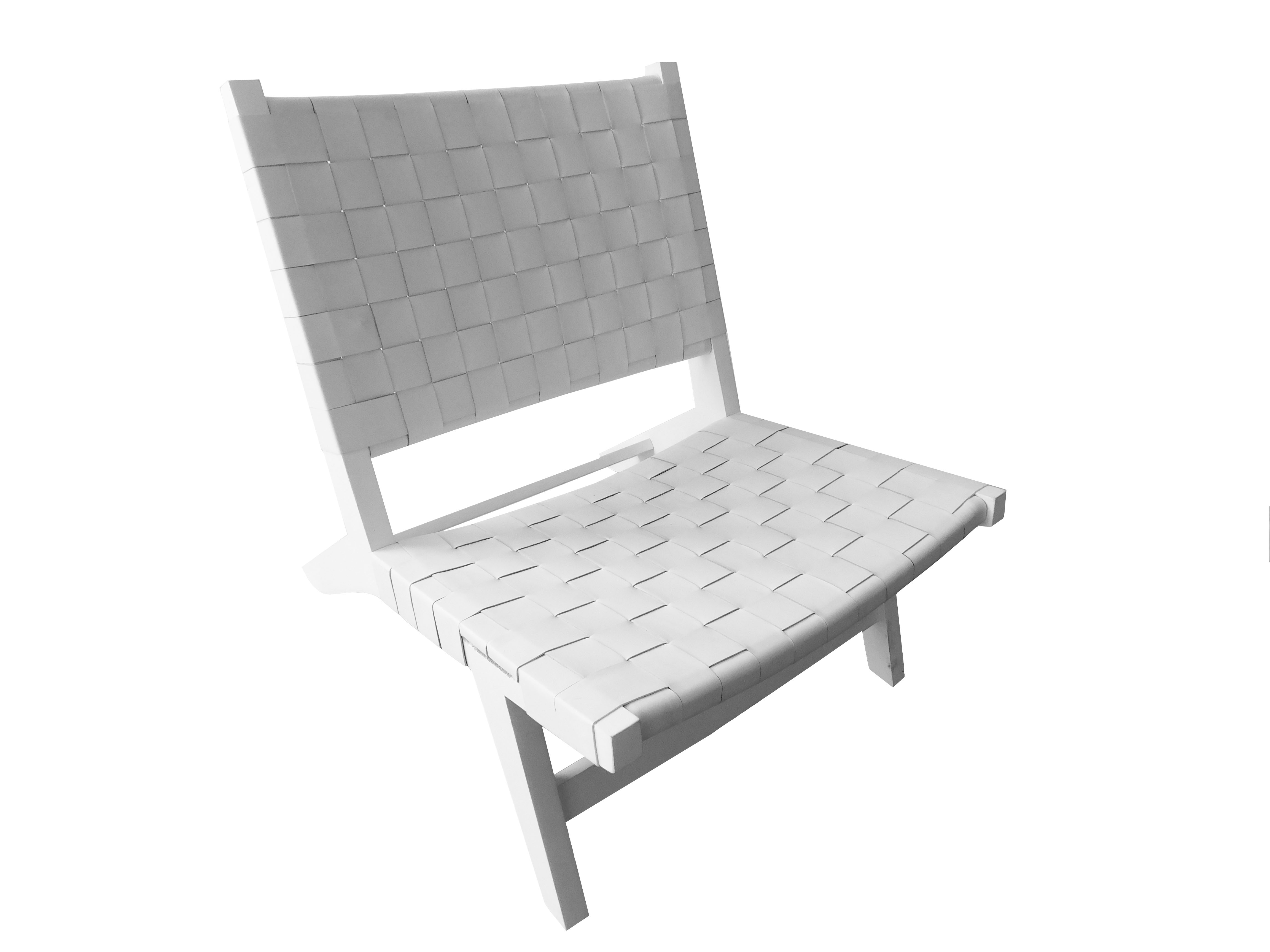 Optic White Leather Lounge Chair