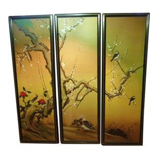 Vintage Oriental Oil Painting on Canvas - Set of 3
