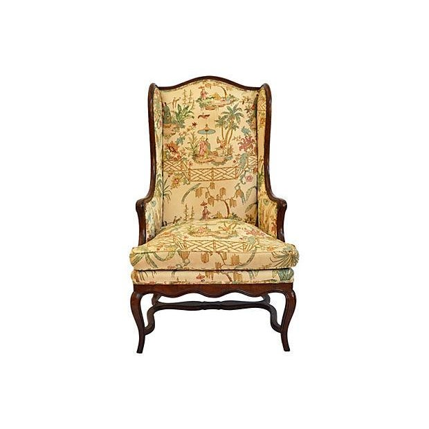 Henredon Chinese Chippendale Wingback Chair - Image 1 of 6