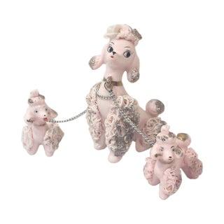 Pink Porcelain Poodle Family