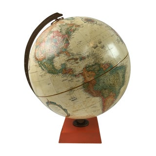 Terrestrial Globe with Orange Base