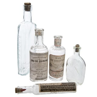 Vintage French Pharmacy Bottles - Set of 5
